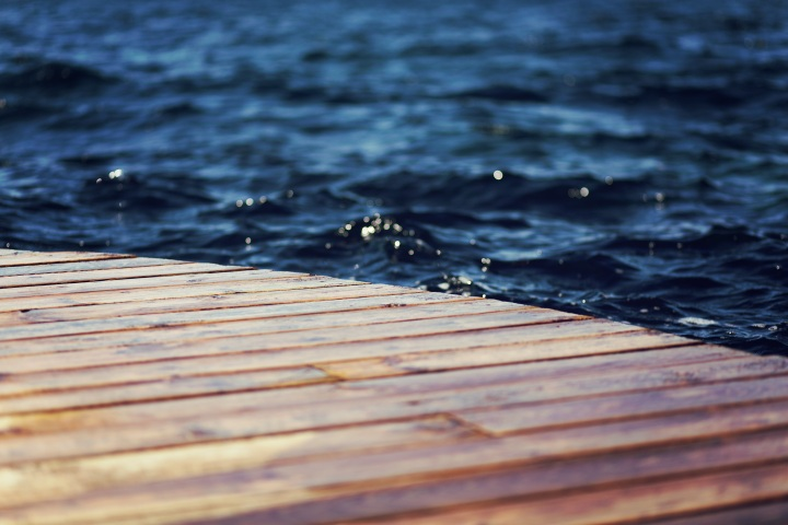 dock on rippling water