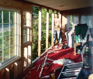 Demolishing the porch 6-15-04